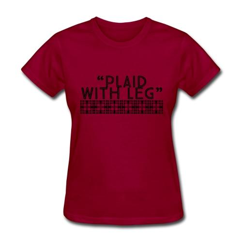 Plaid With Leg - Women's T-Shirt