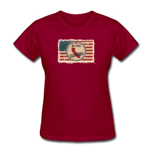 California State Silhouette on Vintage US Flag - Women's T-Shirt