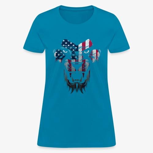 American Flag Lion Shirt - Women's T-Shirt