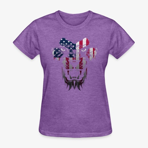 American Flag Lion Shirt - Women's T-Shirt