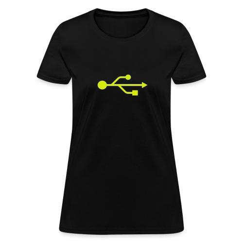 Yellow USB Logo Mid - Women's T-Shirt