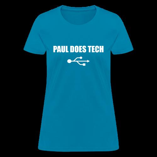 Paul Does Tech White Logo With USB - Women's T-Shirt