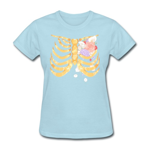 Pastel Goth Gold Rib Cage Shirt - Women's T-Shirt