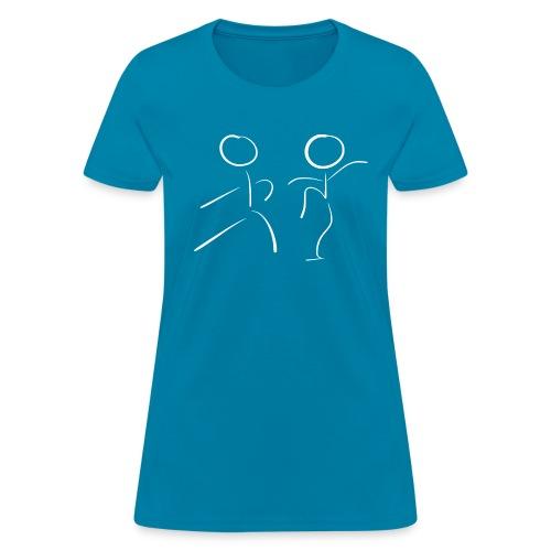 Tai Chi Stick Figures in White - Women's T-Shirt