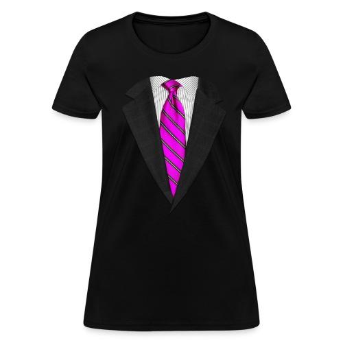 Pink Suit Up! Realistic Suit & Tie Casual Graphic - Women's T-Shirt