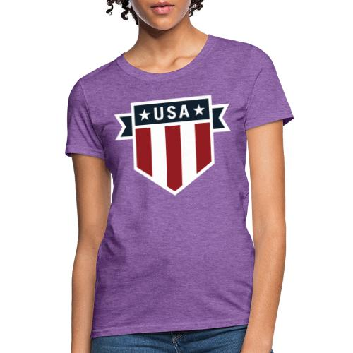 USA Pride Red White and Blue Patriotic Shield - Women's T-Shirt