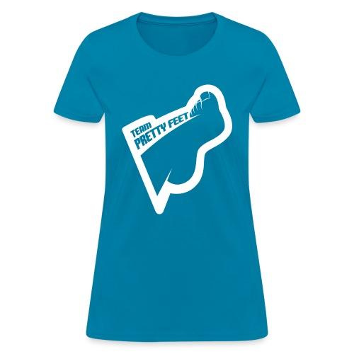 TEAM PRETTY FEET White Foot Logo - Women's T-Shirt
