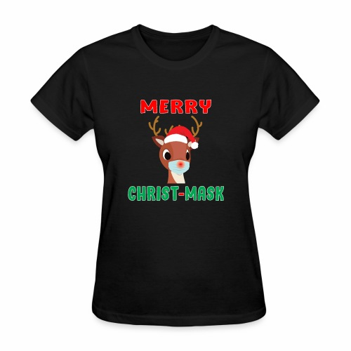 Merry Christmask Rudolph Red Nose Mask Reindeer. - Women's T-Shirt