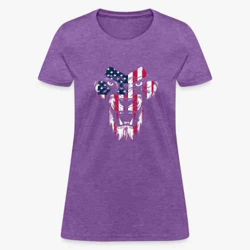 American Flag Lion - Women's T-Shirt