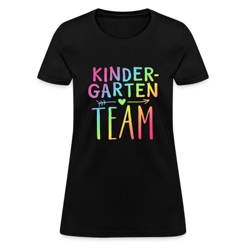 Kindergarten Team Neon Rainbow Teacher T-Shirts - Women's T-Shirt
