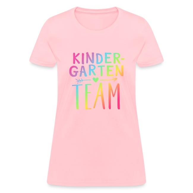 Kindergarten Team Neon Rainbow Teacher T-Shirts