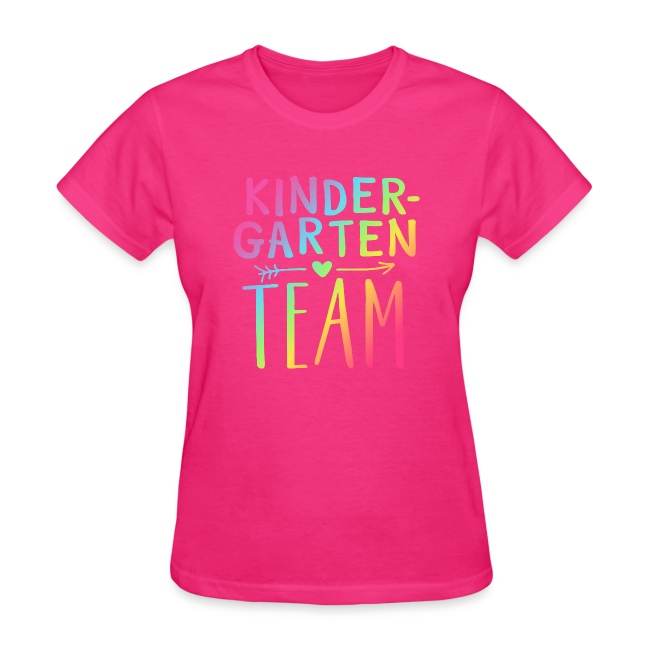 Kindergarten Team Neon Rainbow Teacher T-Shirts