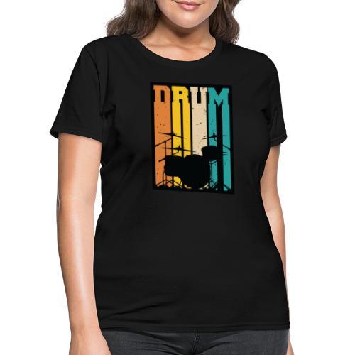 Retro Drum Set Silhouette Illustration - Women's T-Shirt
