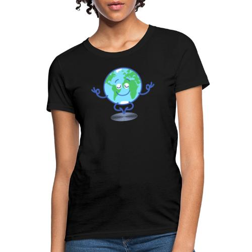 Planet Earth meditating and smiling - Women's T-Shirt