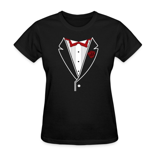 Tuxedo with Red bow tie - Women's T-Shirt