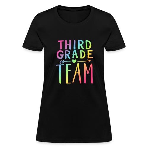 Third Grade Team Neon Rainbow Teacher T-Shirts - Women's T-Shirt