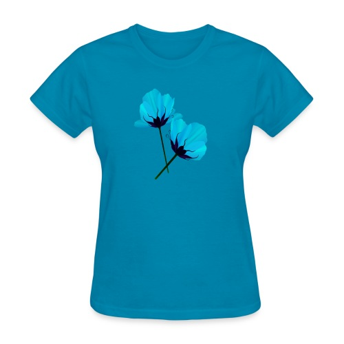Two Electric Blue Flowers - Women's T-Shirt