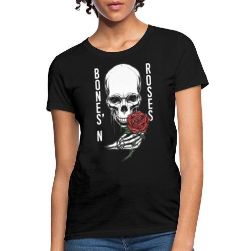 bones roses skull - Women's T-Shirt