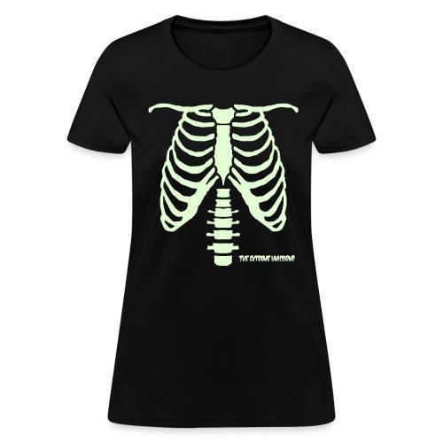 glow in the dark skeleton ribcage - Women's T-Shirt