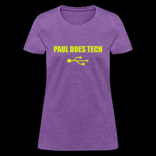 Paul Does Tech Yellow Logo With USB (MERCH) - Women's T-Shirt