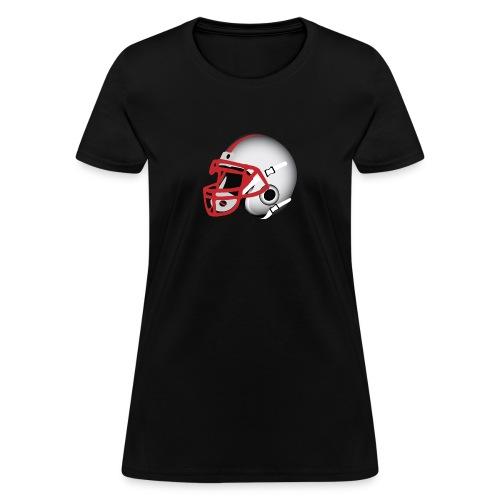 Custom Football Helmet Red on White - Women's T-Shirt