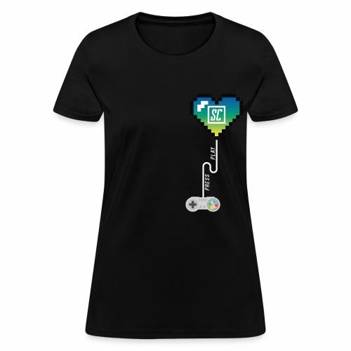 Supercombo Press Play Tshirt Green Heart - Women's T-Shirt