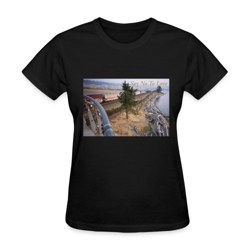 Abandoned Railroad Say Not To Love Film Photograph - Women's T-Shirt