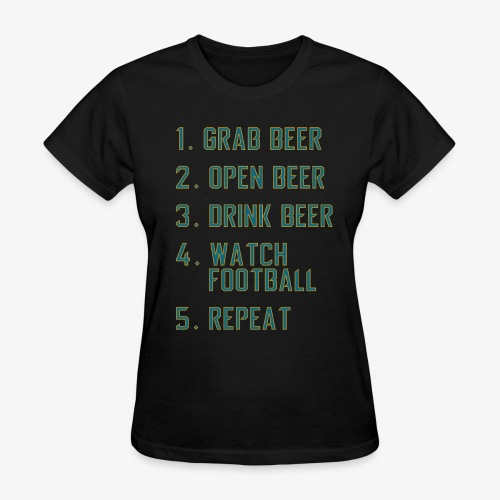 Teal and Gold - Beer and Football - Women's T-Shirt