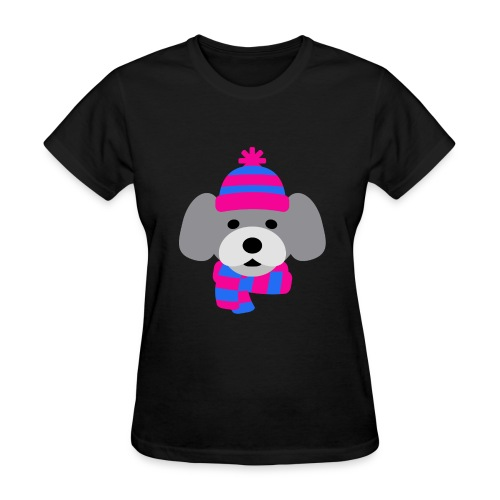 Cute Grey dog in pink and blue hat and scarf - Women's T-Shirt