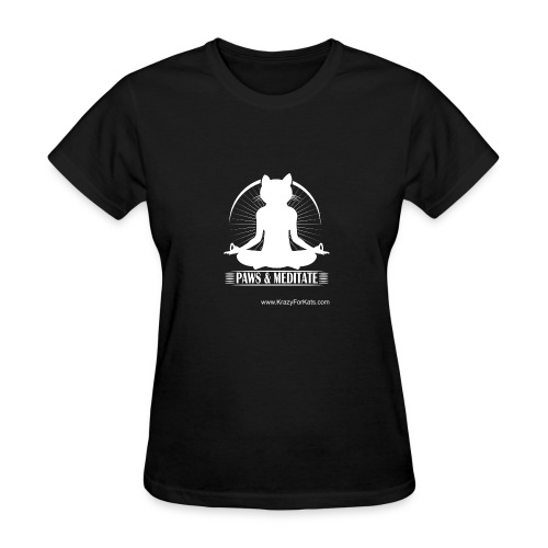 Paws and Meditate, White, Krazy For Kats - Women's T-Shirt