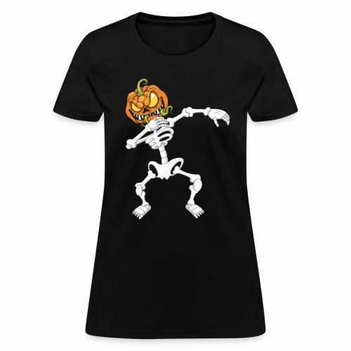 Funny Dabbing Skeleton Pumpkin Halloween T-Shirt - Women's T-Shirt