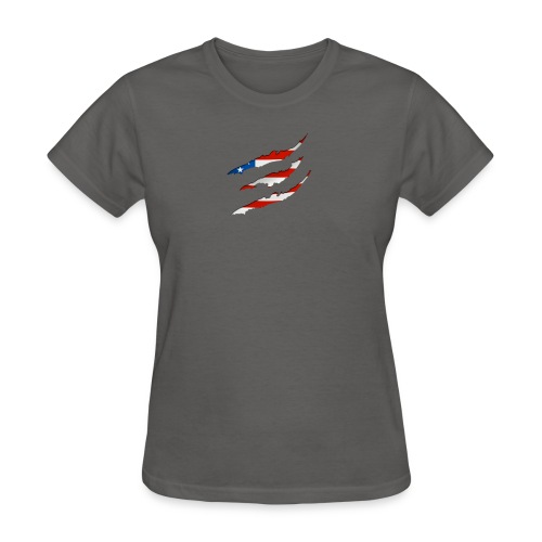 3D American Flag Claw Marks T-shirt for Men - Women's T-Shirt