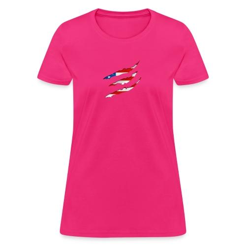 3D American Flag Claw Marks T-shirt for Men - Women's T-Shirt