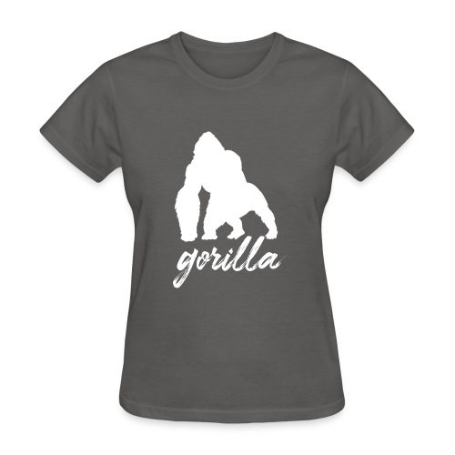 Gorilla Logo, White W/ Text - Women's T-Shirt