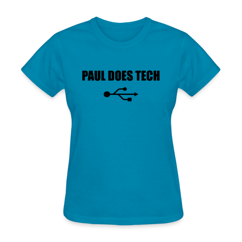 Paul Does Tech Logo Black with USB - Women's T-Shirt