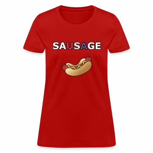 Patriotic BBQ Sausage - Women's T-Shirt