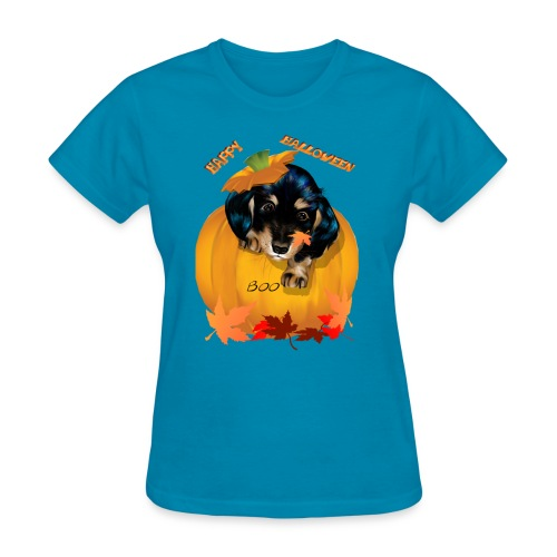 Halloween Dashund Puppy-Boo - Women's T-Shirt