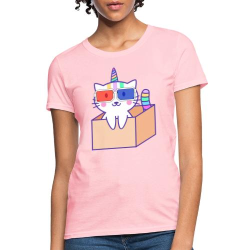 Unicorn cat with 3D glasses doing Vision Therapy! - Women's T-Shirt