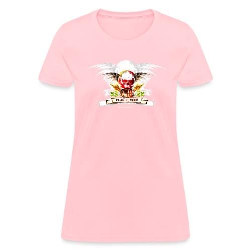 Planet Beer Skull & Keg Gothic 2 Tone - Women's T-Shirt