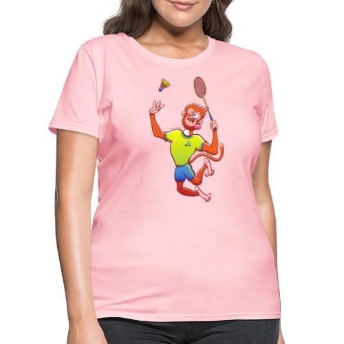 Red Monkey Playing Badminton - Women's T-Shirt