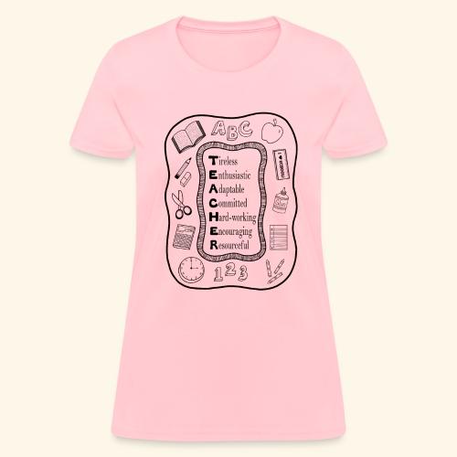 Teacher Attributes Acrostic - Women's T-Shirt