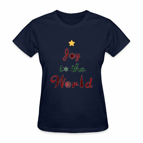Joy to the world Christmas Tree Star Holiday Plaid - Women's T-Shirt