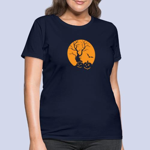 Jack O Lantern Silhouetted Aganist the Moon - Women's T-Shirt