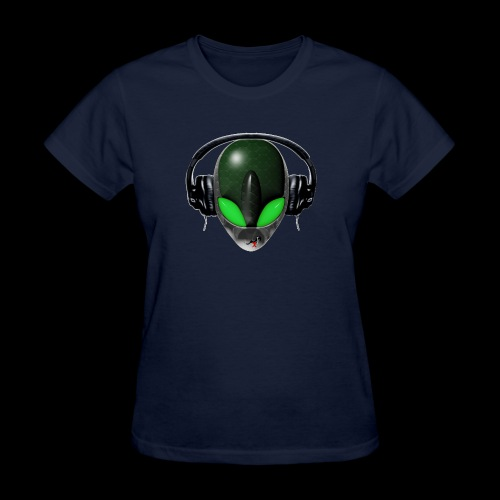 Reptoid Green Alien Face DJ Music Lover - Friendly - Women's T-Shirt