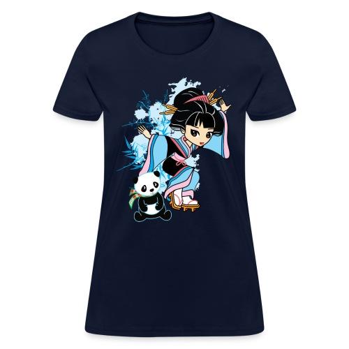 Cartoon Kawaii Geisha Panda Ladies T-shirt by - Women's T-Shirt