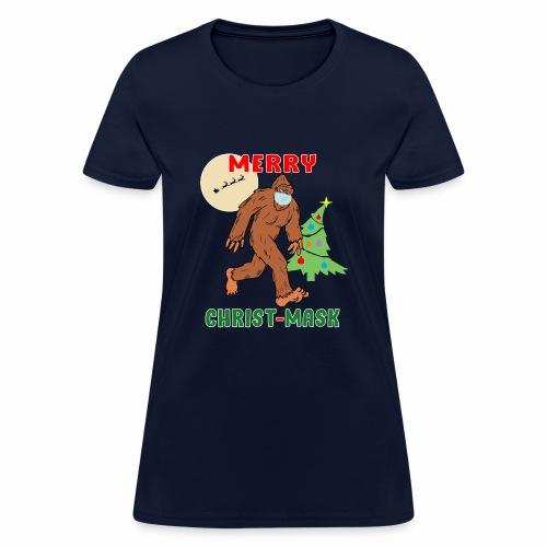 Merry Christmask Sasquatch Mask Social Distance. - Women's T-Shirt