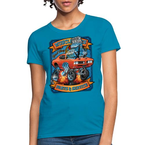 Classic Sixties Muscle Car Parts & Service Cartoon - Women's T-Shirt