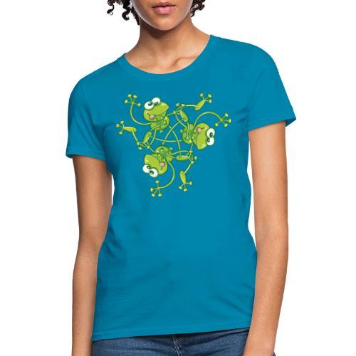 Frogs having fun when rotating in a pattern design - Women's T-Shirt