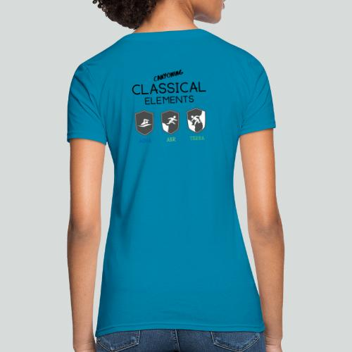 CLASSICAL ELEMENTS-on light back-2 side- all badge - Women's T-Shirt