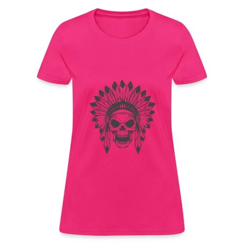 t shirt skull war hat feather native amerindian - Women's T-Shirt